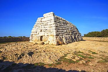 Naveta or megalithic tomb at the site of Es Tudons, Menorca, Balearic Islands, Spain, Mediterranean, Europe