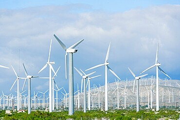 Wind turbines generating electricity, Santa Barbara, California, United States of America, North America