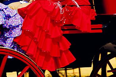 Detail of festival goer's dress, Feria de Sevilla, Sevilla, Andalucia, Spain, Europe