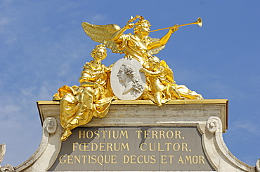 Allegory on the top of the Here Arch, Place Stanislas, formerly Place Royale, UNESCO World Heritage Site, Nancy, Meurthe et Moselle, Lorraine, France, Europe