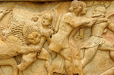 The frieze from the Treasury of the Siphnians decorated with relief representations of mythological scenes,The Museum, Delphi, Peloponnese, Greece, Europe