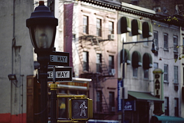 Lamp and street signs, New York, USA, North America