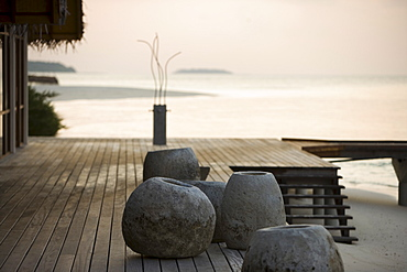 Rocks on jetty, Four Seasons, Maldives, Indian Ocean, Asia