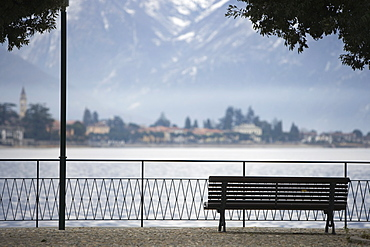 Park bench, Lake Lugano, Switzerland, Europe