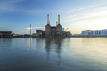 Battersea Power Station and River Thames, London, England, United Kingdom, Europe