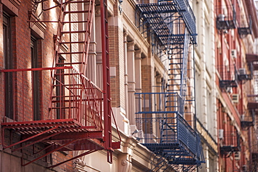 Fire escapes in Soho, New York, United States of America, North America