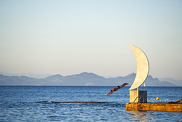 Swimmer and Moon Statue, St. Tropez, Var, Cote d'Azur, French Riviera, Provence, France, Mediterranean, Europe