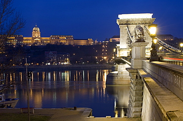 Chain Bridge over the river Danube, Embankment buildings, Budapest, Hungary, Europe