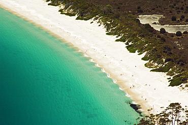 Wave patterns on the White Sand Beach of Wineglass Bay, Freycinet National Park, Freycinet Peninsula, Coles Bay, Tasmania, Australia, Pacific