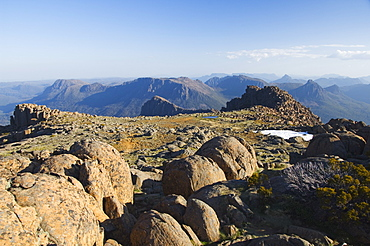 View from the top of Mount Ossa, 1617m, Tasmania's highest mountain on the Overland Track, Cradle Mountain Lake St. Clair National Park, part of Tasmanian Wilderness, UNESCO World Heritage Site, Tasmania, Australia, Pacific