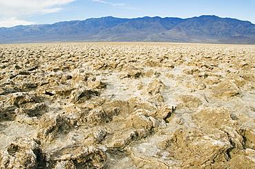 Crystaline deposit salt pillars in the corrugated Badlands landscape at Devils Golf Course, Death Valley National Park, California, United States of America, North America