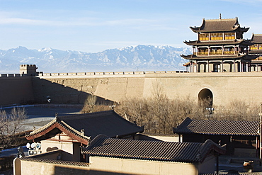 Ming dynasty Jiayuguan Fort dating from 1372, with Qilan Shan mountains in the Hexi Corridor, Gansu Province, China,  Asia
