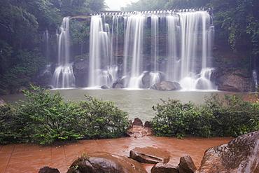 A waterfall in the Sidonggou Nature Reserve near Chushui, Guizhou Province, China, Asia