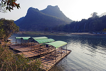Bamboo rafts on the river at Detian Falls, Guangxi Province, China, Asia