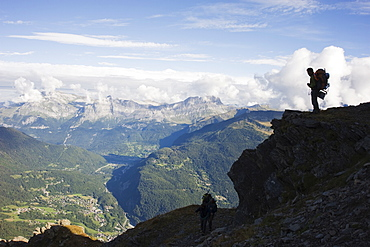 Hiker above Chamonix Valley, Mont Blanc, French Alps, France, Europe