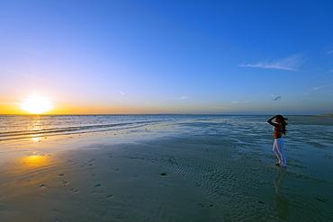 Girl on Sugar Beach at sunrise, Bantayan Island, Cebu, The Visayas, Philippines, Southeast Asia, Asia