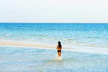 Girl on Sugar Beach, Bantayan Island, Cebu, The Visayas, Philippines, Southeast Asia, Asia
