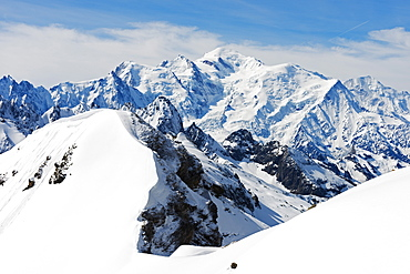 Mont Blanc 4810m from Mont Buet, Chamonix Valley, Rhone Alps, Haute Savoie, France, Europe