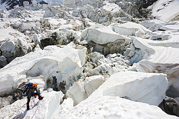 Climber on Bosson Glacier, Chamonix Valley, Rhone Alps, Haute Savoie, France, Europe