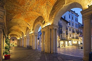 An arcade in Piazza Signori, Vicenza, UNESCO World Heritage Site, Veneto, Italy, Europe