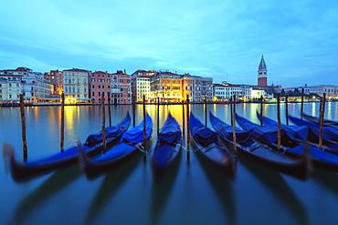 Gondolas and Campanile di San Marco in Venice lagoon, Venice, UNESCO World Heritage Site, Veneto, Italy, Europe