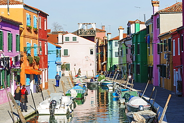 Multi coloured canal side houses in Burano, Venice, UNESCO World Heritage Site, Veneto, Italy, Europe