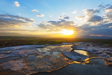 White travertine basins at sunset, Pamukkale, UNESCO World Heritage Site, Anatolia, Turkey, Asia Minor, Eurasia