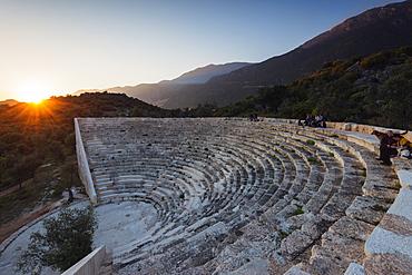 Antiphellos ruins, Lycian amphitheatre at sunset, Kas, Lycia, Turquoise Coast, Anatolia, Turkey, Asia Minor, Eurasia