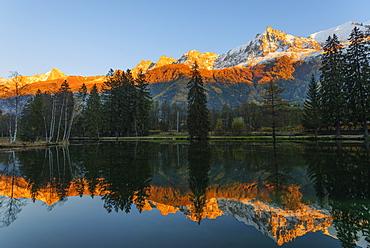 Autumn scenery, Chamonix, Rhone Alpes, Haute Savoie, French Alps, France, Europe
