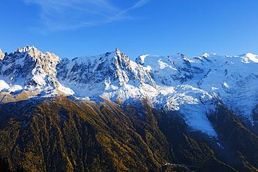 Mont Blanc, 4810m, autumn, Chamonix, Haute Savoie, Rhone Alpes, French Alps, France, Europe
