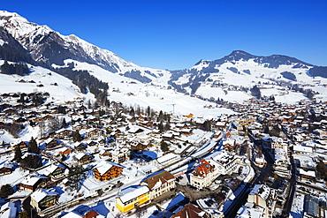 Aerial view, Chateau-d'Oex, Vaud, Swiss Alps, Switzerland, Europe