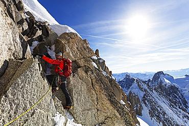 Climbing Les Droites, 4000m, Chamonix, Rhone Alpes, Haute Savoie, French Alps, France, Europe