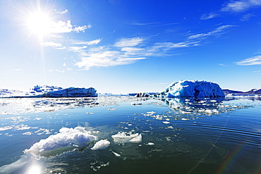 Iceberg filled glacial lagoon, Spitsbergen, Svalbard, Arctic, Norway, Europe