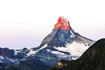 The Matterhorn, 4478m, at sunrise, Zermatt, Valais, Swiss Alps, Switzerland, Europe