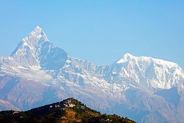Machapuchare (Fishtail mountain) 6993m and Sarangkot lookout point, Pokhara, Nepal, Himalayas, Asia