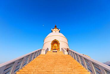 World Peace Pagoda, Pokhara, Pokhara Valley, Nepal, Asia