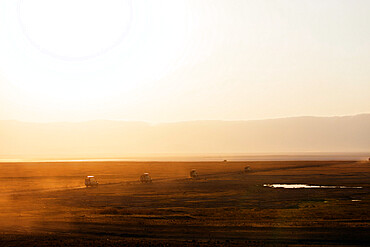 Tourist jeeps on safari at sunrise, Ngorongoro Crater Conservation Area, UNESCO World Heritage Site, Tanzania, East Africa, Africa