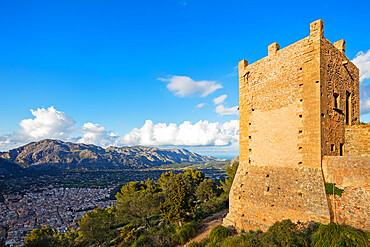 Fortification on top of Puig de St. Maria, Pollenca, Majorca, Balearic Islands, Spain, Mediterranean, Europe