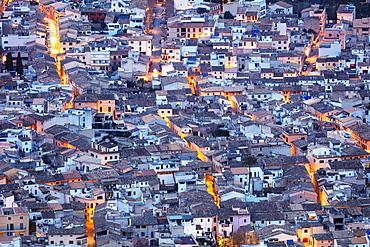 Aerial view of old town, Pollenca, Majorca, Balearic Islands, Spain, Mediterranean, Europe