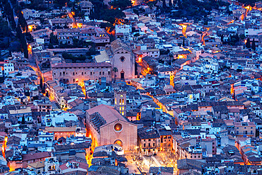 Aerial view of old town and Monti Sion church, Pollenca, Majorca, Balearic Islands, Spain, Europe