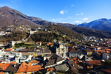 Castelgrande and La Collegiata church of St. Peter and Stephan, UNESCO World Heritage Site, Bellinzona, Ticino, Switzerland, Europe
