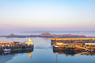 Port of St. Helier and Elizabeth Castle, Jersey, Channel Islands, United Kingdom, Europe