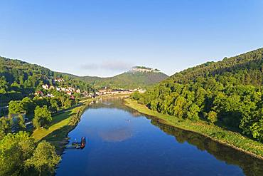 Aerial view of Festung Konigstein Castle, River Elbe, Konigstein, Saxony, Germany, Europe