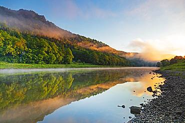 River Elbe at dawn, Konigstein, Saxony, Germany, Europe