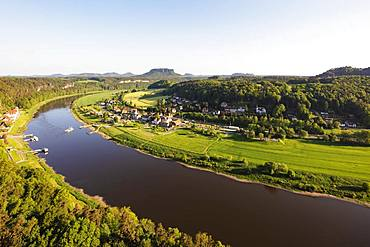 River Elbe, Saxon Switzerland National Park, Saxony, Germany, Europe