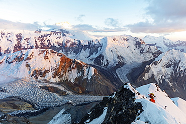 Tent at Camp 4 at 6100m on Peak Korzhenevskaya, 7105m, at sunset, Tajik National Park (Mountains of the Pamirs), UNESCO World Heritage Site, Tajikistan, Central Asia, Asia