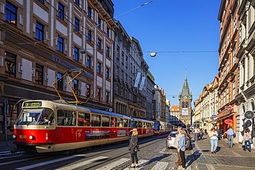 City tram near Jindrisska Tower, Prague, Czech Republic, Europe