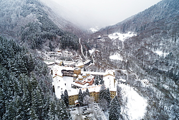 Europe, Bulgaria, aerial view of Church of the Nativity of the Virgin Mother at Rila Monastery, UNESCO World Heritage Site, Bulgaria, Europe