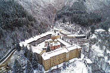 Aerial view of Church of the Nativity of the Virgin Mother at Rila Monastery, UNESCO World Heritage Site, Bulgaria, Europe