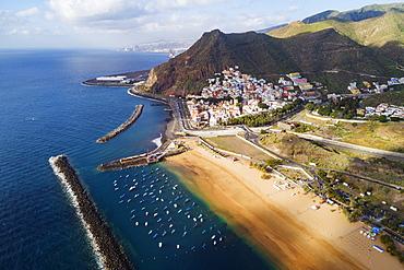 Aerial drone view of Playa de las Teresitas, San Andres, Tenerife, Canary Islands, Spain, Atlantic, Europe